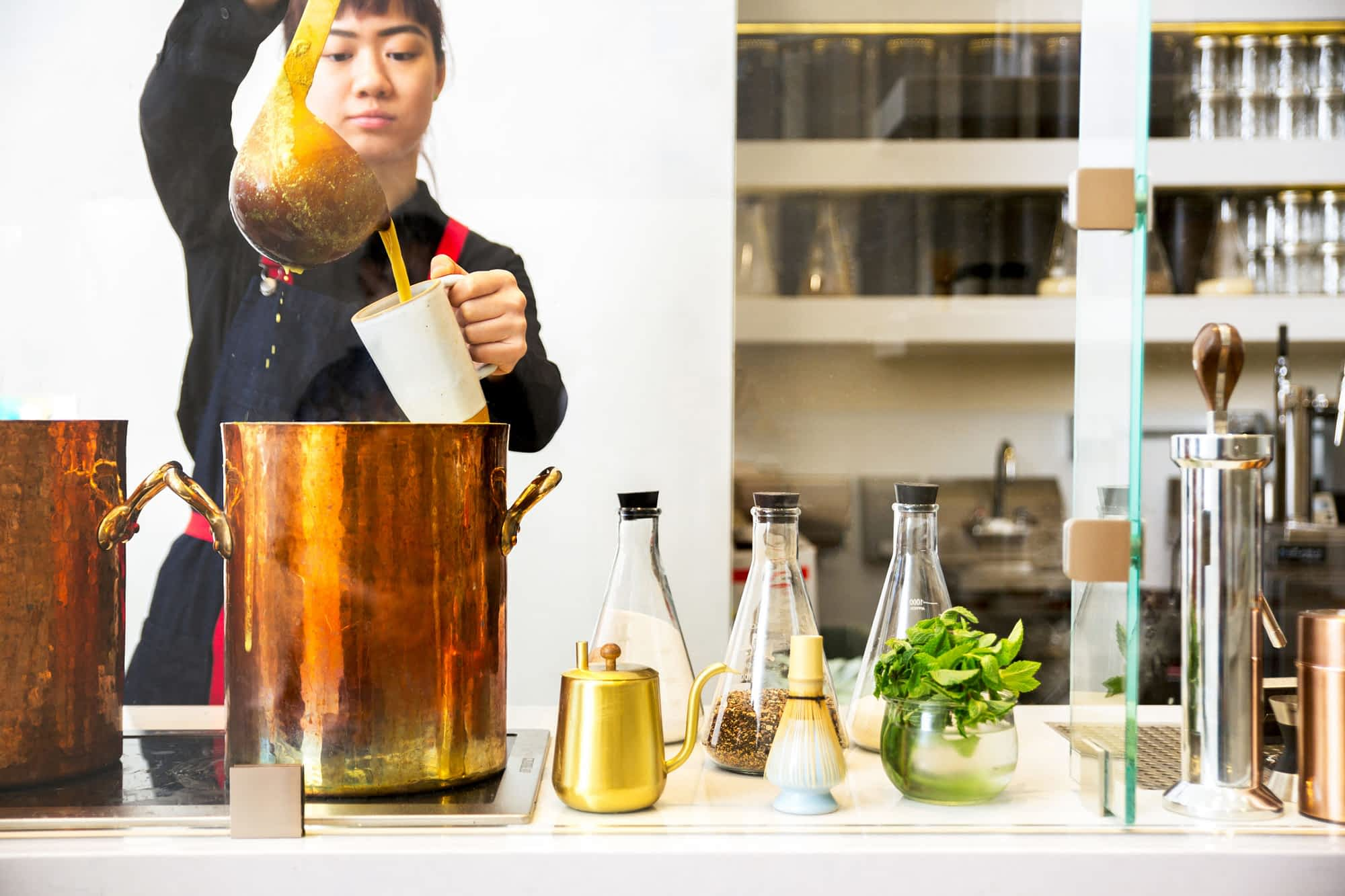 Pouring Masala Chai at 1910 Fillmore St