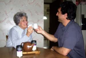 "Paul T. and Mom ""Cheers!"""